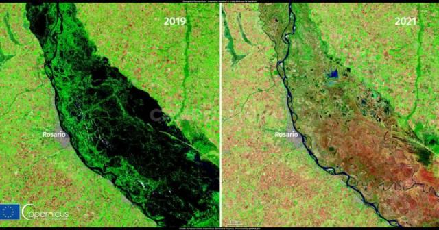 Impactante: la histórica bajante del Paraná, vista por satélites europeos